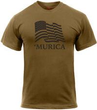 Mens Coyote Brown 'MURICA Waving US Flag American Pride Athletic Muscle T-Shirt