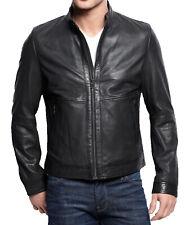 Men Leather Jacket Black New Slim fit Biker Pure lambskin jacket #  LS#209