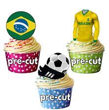 Precortadas Comestibles Brasil Fútbol Copa Mundial 2018 Adornos de Cupcake