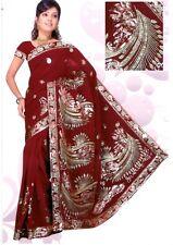 Bordeaux Bollywood Sequin Wedding Indien Sari Saree Robe Kaftan Ventre Danse