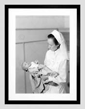 VINTAGE MEDICAL MIDWIFE BABY HOSPITAL PORTUGAL BLACK FRAMED ART PRINT B12X3734