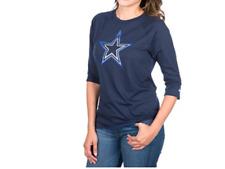 Dallas Cowboys Women's Nike Driblend Raglan 3/4 Sleeve Shirt - Navy