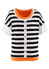 BPC Camiseta Top Largo 2 Pcs. Camisa tipo Túnica Rayas Negro Blanco Naranja