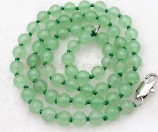 Beads Hand Knotted Necklaces 18-48'' Long Elegant 8mm Light Green Jade Gemstones