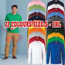 Gildan Ultra Algodón Adulto para Hombre Manga Larga T-Camiseta Clásico Calce Costilla puños Camiseta Top