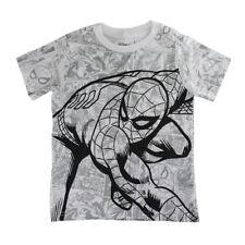 Disney Store Boys Spider-man Short Sleeve T-Shirt, White/Gray