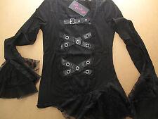 Gothic Langarmshirt schwarz Spitze Nieten Spitzenärmel asymmetrisch M L Bluse
