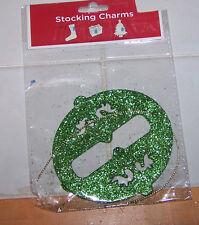 GREEN Glitter Ornament STOCKING Charm NIP