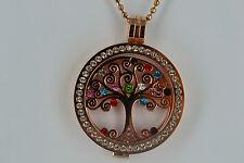 STERLINA MILANO NECKLACE/PENDANT/TREE OF LIFE/ROSE GOLD/LOCKET/CRYSTAL/MONEDA/