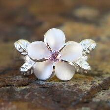 Hawaiian Silver 4 Leaves Plumeria Flower Pink CZ Wedding Ring Band 12mm SR2062