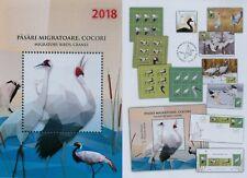 Rumänien 2018 Vögel,Zugvögel,Kraniche Mi.7324-27,Zf,KB,Block 718,Block 719,FDC