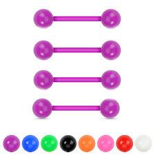 4 Pc No Metal Solid Acrylic Ball Flexible Barbell Nipple Tongue Rings