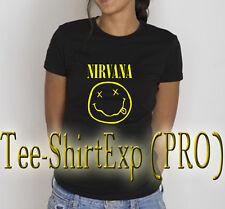 T-Shirt Femme Nirvana Smiley -Tee shirt Femme Fun idée Cadeau Nirvana - XS au XL