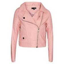 Girls Jackets Kids Designer Peach PU Faux Leather Jacket Zip Up Biker Coats 5-13