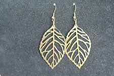Bronze Tone Filigree Leaf Charm Drop Earrings