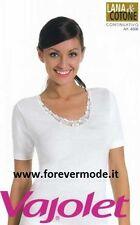 Maglia donna Vajolet manica corta in lana e cotone con profilo pizzo art 4508