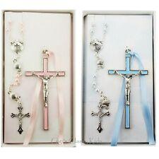 Boys Girls Pewter Crib Cross Rosary Baptism Nursery Christening Children Decor