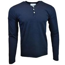 Men's Henley Long Sleeve Shirt -ZW- Slim Fit -Pullover Button Blouse- NAVY BLUE