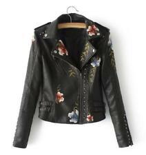 Women's rivet locomotive leather jacket fashion retro embroidered jackets coat