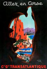 Affiche compagnie maritime Générale Transatlantique - Allez en Corse