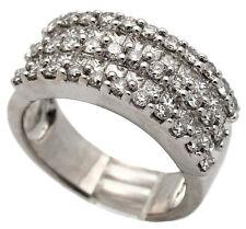 New DIAMOND 5-ROW WEDDING ANNIVERSARY BAND 18K Solid White GOLD 1.98TCW G/VS
