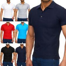 Herren kurzarm Uni Poloshirt Kragen T-Shirt Polo Shirt basic Slimfit