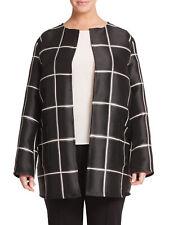 MARINA RINALDI Women's Black Famoso Check Duster Jacket $1,260 NWT