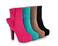 botas de mujer botines invierno cómodo zapatos talón 12 cm como ante 8789