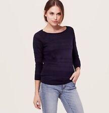 NWT Ann Taylor Loft Navy Blue Monochrom Tonal Stripe Linen/Cotton Sweater XS-XL