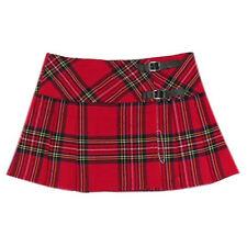 """Womens Red Plaid 13"""" Wraparound Leather Straps Mini Kilt Skirt - Free Pin"""