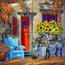 Burro Rooster Tile Backsplash Senkarik Southwest Art Ceramic Mural MSA202