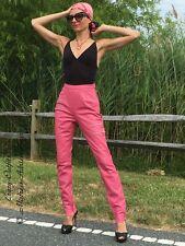 Lederhose Leder Hose Pink Zipper Knalleng Größe 32 - 58 XS - XXXL