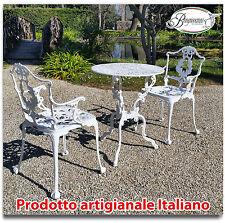 Tavolo e sedie da giardino e casa in alluminio bianco e grigio ghisa
