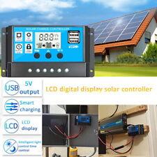 LCD Solar Panel Battery Regulator 12V/24V USB Dual Controller Charge NEW 30A