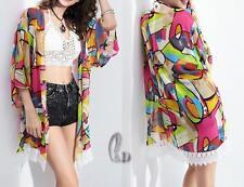 AU SELLER Oversize Chiffon&Lace Kaftan Open Top Shirt Beach Kimono Cover sw077