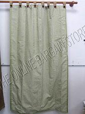 Ballard Designs Burlap Check Gingham Drapes Panels Curtains Green 50x84
