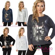 Ladies Oversized Asymmetric Top Silver Print Lightweight Jumper Size 8-14 FT2166