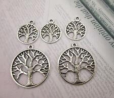 Tibetan Silver Pretty Large/Small  Life Tree Charms Beads Jewelery Pendants
