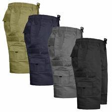 Mens Elasticated Waist Plain Casual Cargo Shorts Summer Half Pants Size M-6xl