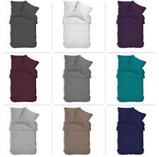 Uni Bettwäsche Einfarbig Mikrofaser Garnituren Bettbezüge Reißverschluss Premium