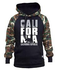 Men's Silver California Republic Camo/Black Raglan Hoodie Cali Life Bear Usa Ca
