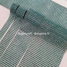 TURQUOISE / TEAL  Diamante Bling Sparkling  Effect Wedding Trim Ribbon mesh