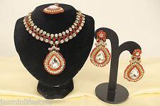 Ladies New Diamante Beaded Necklace Earring Tikka Bridal Party Costume Jewellery