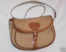 "Brown Leather Canvas 8X10"" La Romana Bartoli NY Purse Handbag w 32"" Strap"