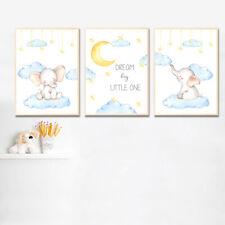 Animal Elephant Wall Art Canvas Poster Nrusery Print Baby Kid Bedroom Decoration