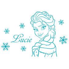 * 1 Sticker Personnalisé - Elsa Reine Des Neiges + Flocons  -  Prénom au Choix *