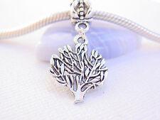 Cute Silver Tone Family Tree Tree of Life Slide Dangle Charm fits Euro Bracelets