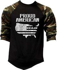 Men's Proud American Us Map Camo 3/4 Sleeve Baseball Raglan T Shirt Usa Flag