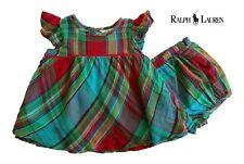 NWT RALPH LAUREN Girls Red, Blue & Green Plaid Dress Set(Size 3M, 6M) MSRP$59.50