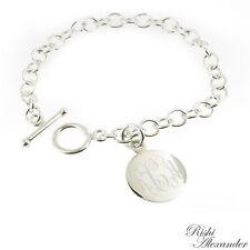 Monogrammed .925 Sterling Silver Toggle Link Charm  Bracelet